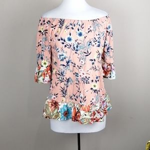 Fig and Flower Floral Ruffled Top Peach Size S